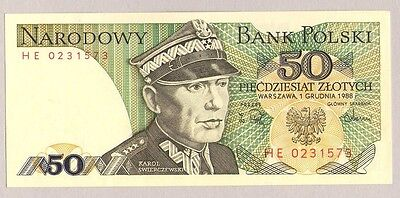 1988 Poland 50 Zlotych Banknote Crisp Uncirculated