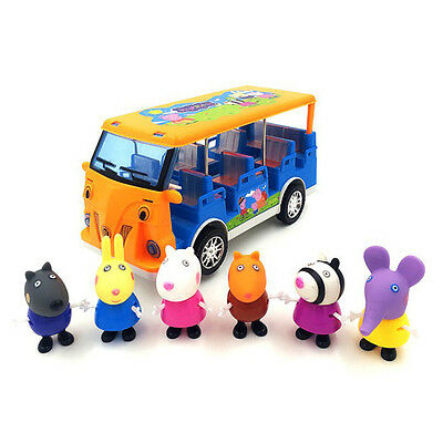Hot Peppa Pig Electric School Bus Figures with Six Pigs-Suzzy Danny Emily Candy