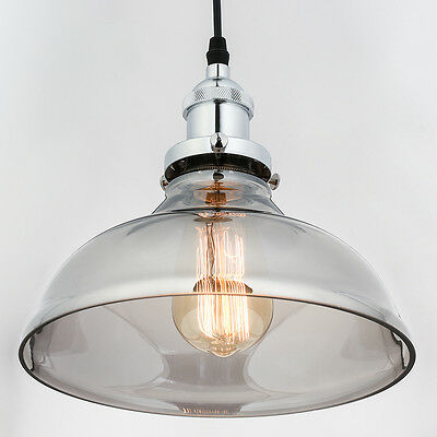 Modern Vintage Industrial Smoke Grey Glass Lamp Shade Pendant Ceiling Light