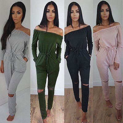 Women's Playsuit Off Shoulder Ripped Knee Jumpsuit Ladies Evening Party Playsuit