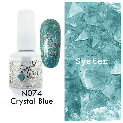 SYSTER 15ml Nail Art Soak Off Color UV Gel Polish N074 - Crystal Blue