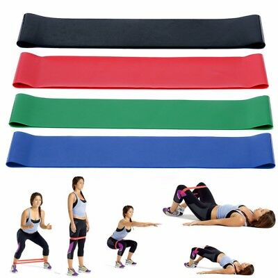 4 Colors Yoga Resistance Loop Exercise Fitness Home Gym Training Bands Tube Set