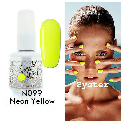 SYSTER 15ml Nail Art Soak Off Color UV Gel Polish UV Lamp N099 - Neon Yellow