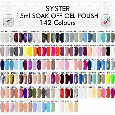 SYSTER NEW 189 Colours 15ml Nail Art Soak Off Gel Polish Manicure UV / LED Lamp