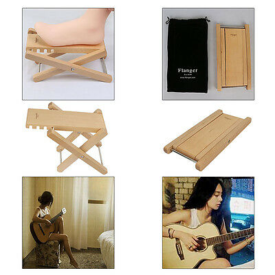 Foldable Wood Classic Guitar Pedal Foot Rest Stool Practice 4 Adjustable Height