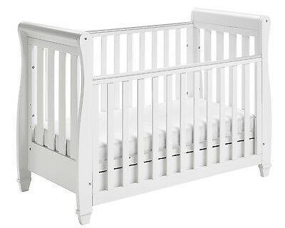 Babymore Eva Sleigh Cot Bed Dropside Drawer (White) + FOAM MATTRESS