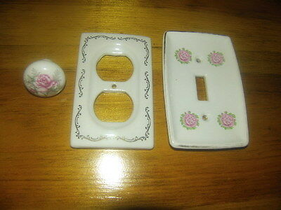 Vintage Ceramic Collection Double Plug Outlet, Light Switch Cover & Handle