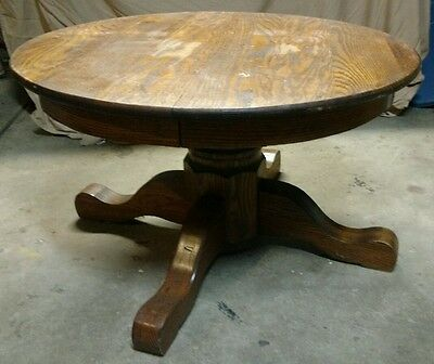 "Vintage Round Oak table small Child's Size coffee or lamp table 35 1/4""x 21"""