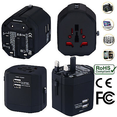Universal World Travel Adapter With Dual USB Charger Wall AC Power -Black