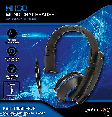 Gioteck XH50 Blue Wired Mono Headset for Xbox One/PS4/PC/Mac OS/Nintendo Wii U
