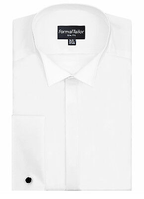 Mens White Wing Collar Slim Fit Wedding Fitted Shirt