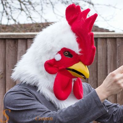 Thumbs Up Mr Rooster Plush Faux Fur Moving Mouth Mask Fancy Dress