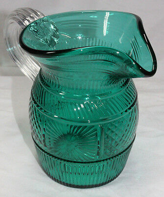 TEAL PITCHER with CLEAR HANDLE Metropolitan Museum of Art FLINT REPRO MMA