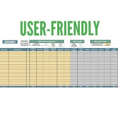 2019 ebay inventory profit sales monthly yearly tracker excel spreadsheet