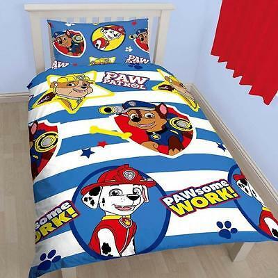 New Paw Patrol Pawsome Single Duvet Set Quilt Cover Childrens Reversible Bedding