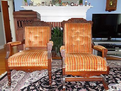 Antique Victorian Eastlake Chairs - 2pc Set - Rocker and Arm chair