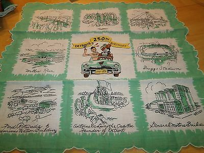 Women's Vintage  Cotton 250th Detroit Michigan's Birthday Landmark Handkerchief