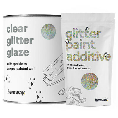 Hemway 1L Clear Glitter Paint Glaze Silver + Gold Holographic Pre-Painted Wall
