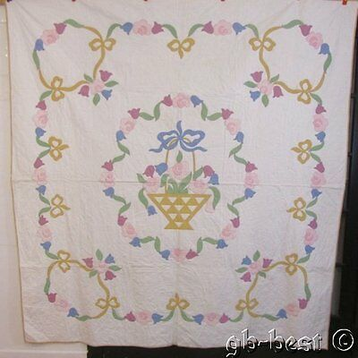 """Beautiful vintage c 30s Cottage French BASKET Quilt Flowers Bows 80"""" x 84"""""""