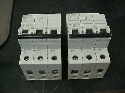 (2) New Siemens 5Sj63 340-7Cc20 Mcb C40 400V 3 Pole Miniature Circuit Breakers