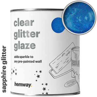 Hemway Clear Glitter Paint Glaze Sapphire Blue for Pre-Painted Walls Wallpaper