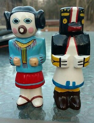 American Indian Southwestern Tribal Hand Painted Salt and Pepper Vintage Rare