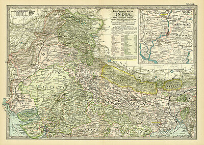 1899 Northern India Nepal Calcutta Original Antique Color Map