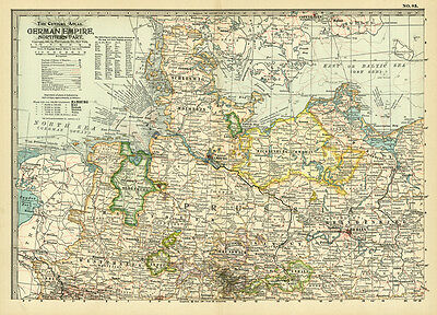 1899 Century German Empire Northern Part Berling Original Antique Color Map