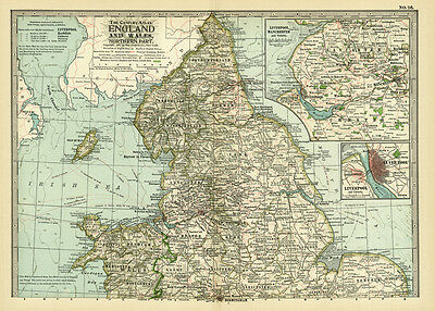 1899 Century England Wales Northern Part Original Antque Color Map