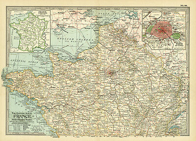 1899 Century Northern Part Of France Paris Original Antique Color Map