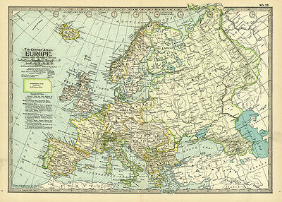 Century 1899 Europe Original Antique Color Maps
