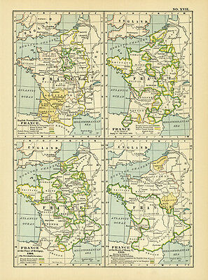 1899 Century France At Peace Of Bretigny Original Antique Color Map