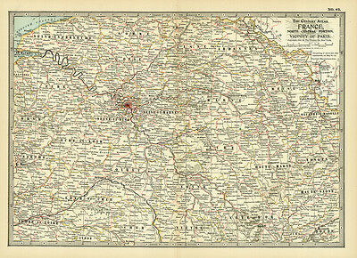 Century 1899 France North Central Portion Paris Orginal Antque Color Map