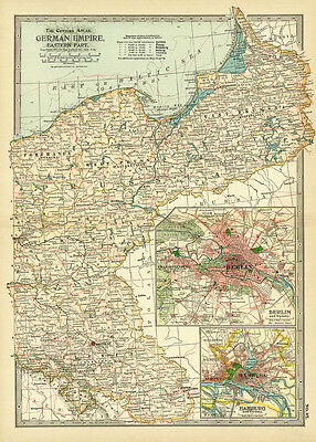 1899 Century German Empire Eastern Part Berlin Original Antique Color Map