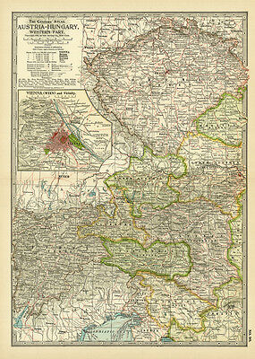 Century 1899 Austria Hungary Western Part Vienna Original Antique Color Map