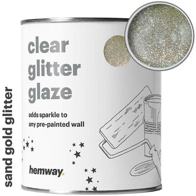 Hemway 1L Clear Glitter Paint Glaze (Sand Gold) for Pre-Painted Walls DIY UK