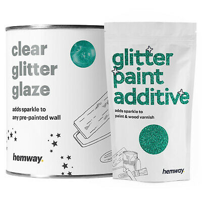 Hemway 1L Clear Glitter Paint Glaze (Turquoise) for Pre-Painted Walls DIY UK