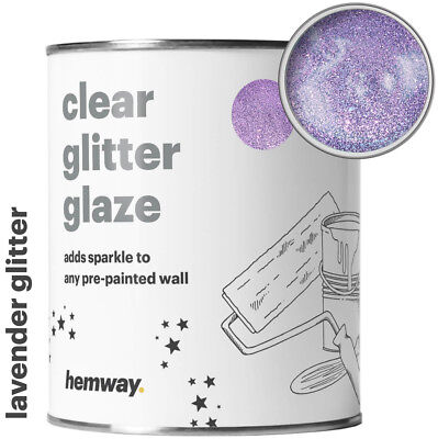 Hemway 1L Clear Glitter Paint Glaze (Lavender) for Pre-Painted Walls DIY UK