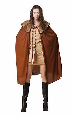 Ladies Short Brown Cape With Plush Collar Medieval Fancy Dress Costume Cloak