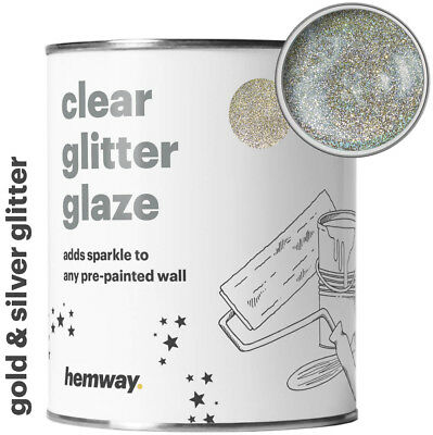 Hemway 1L Clear Glitter Paint Glaze (Silver & Gold) for Pre-Painted Walls DIY UK