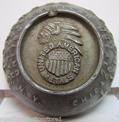 Antique United American Metals Adv Paperweight Indian Chief Booklyn NY Chicago