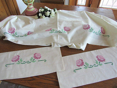 Vintage Romantic Pink Roses Cross Stitch Sheet Pillowcases Set UNUSED French