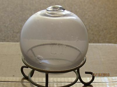 "Antique, ""l T"", Glass Fishing Float, 16 In. Circumference, Light Lavender Color"