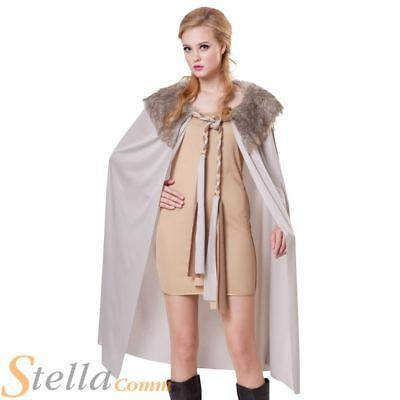Ladies Short Grey Cape With Plush Collar Medieval Fancy Dress Costume Cloak