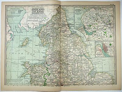 Original 1897 Map of The Northern Parts of England & Wales - Nicely Detailed