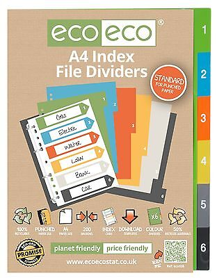 A4 INDEX FILE FOLDER PLASTIC DIVIDERS SUBJECT 6 PART DIVIDERS ecoeco RECYCLED