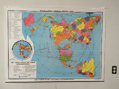 """Nystrom Quillen-Johns Old School Map """"The United States & World Interdependence"""""""