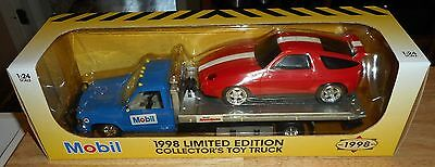 New In Box Nos Boise 1:24 Mobil Gas Oil Flatbed Car Hauler Truck With Porsche