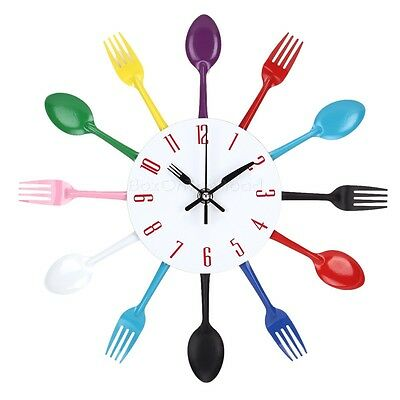 Colorful Modern Creative Retro Cutlery Wall Clock Fork  Spoon Kitchen Decoration