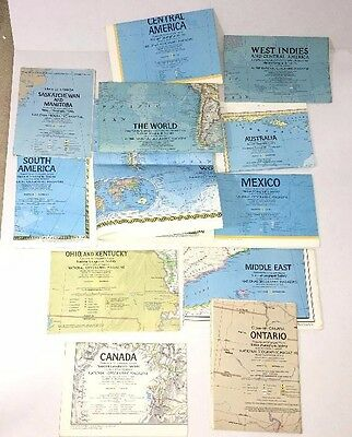 Vintage Lot (12) 1970's National Geographic Maps Many Countries World Etc